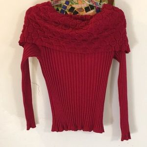 Roz & Ali (aka Dress Barn) Red Ribbed Knit Top